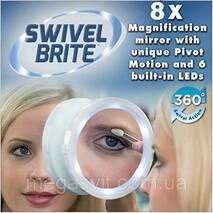 Дзеркало з підсвічуванням  на присоску Свивел Брайт- Swivel Brite 360 8x