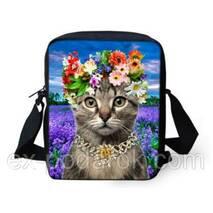 """Молодіжна 3d сумка """"Кіт у віночку""""."""