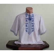 Мужская рубашка на сером полотне с васильковыми дубочками, ручная работа