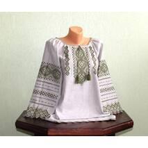 Рубашка женская на сером льне с оливковой вышивкой, ручная работа