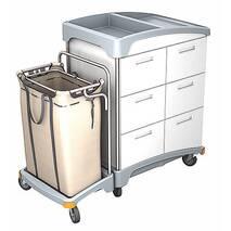 Тележка гостиничнаяВВс выдвижными ящиками и мешком для белья SPLAST TSH-0007