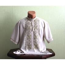 Мужская рубашка на сером полотне с вышивкой оливкового цвета. Ручная работа