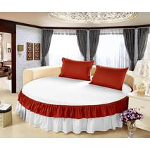 Комплект постельного белья с цельной простынью - подзором на Круглую кровать Белый + Винный