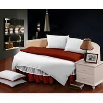 Комплект постільної білизни з цільним простирадлом-підзором на Кругле ліжко  Винний + Білий