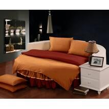 Комплект постельного белья с цельной простынью - подзором на Круглую кровать Винный + Медовый