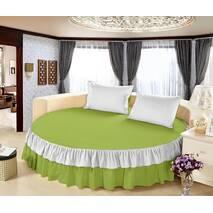 Комплект постельного белья с цельной простынью - подзором на Круглую кровать Белый + Салатовый
