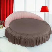 Простирадл цілісна - підзор на Кругле ліжко Медовий Модель 1 з рюшів