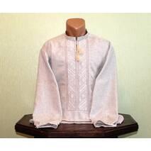 Рубашка мужская вышитая белым на сером полотне, ручной работы