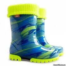 Резиновые сапоги DEMAR TWISTER LUX FLUO d (Желто-голубая мозаика), 28-35, купить во Львове