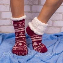 Бордові домашні напівшерстяні тапочки-шкарпетки з оленями.