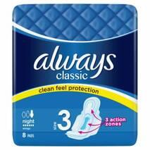 Женские гигиенические прокладки с крылышками Always Classic Night 6 капель 8 шт