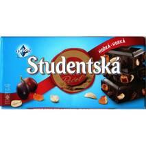 Шоколад Studentska чорний з арахісом, родзинками та шматочками мармеладу, 180 г, Чехія