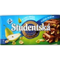 Шоколад Studentska молочний з грушею, арахісом і шматочками мармеладу, 180 г, Чехія