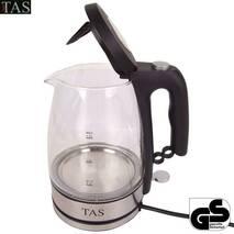 Стеклянный светодиодный чайник TAS, 1.5 литра беспроводной 1800W 360 купить в Виннице