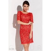 Роскошное гипюровое платье (красно-бежевый)
