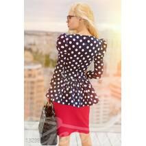 """Великолепное платье """"горох"""" с баской (верх - темно-синий, горох - белый, юбка - красный)"""