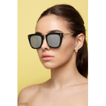 Солнцезащитные очки 14480 черный золото зеркало серый