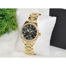Женские часы Ролекс ( Rolex ) стразы золотые с черным циферблатом.