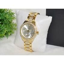 Женские часы Ролекс (Rolex) стразы золотые с серебристым циферблатом .