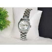 Женские часы Ролекс ( Rolex ) серебристые с датой.