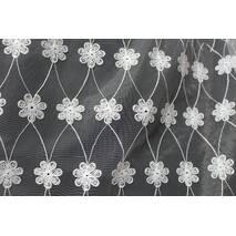 Тюль-гардина біла маленькі квіточки купити недорого