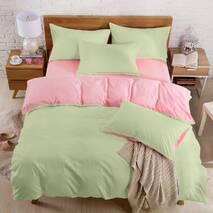 Подростковое двустороннее постельное белье Олива + Розовый