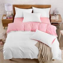 Подростковое двустороннее постельное белье Белый + Розовый