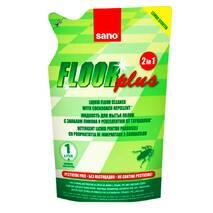 Засіб для миття підлоги Sano Floor Plus 2 в 1 з лимонним запахом для відлякування тарганів (екопак), 750 мл.