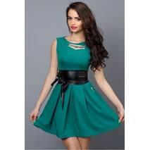 Молодіжна літня сукня зелена з шкіряним поясом