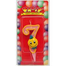 """Свічка цифра на торт  """" Смайлик рожевий - 7 """""""