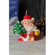 Свічка новорічна дід Мороз з ялинкою, 90 грам