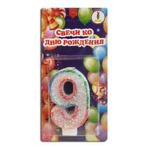 "Свічка цифра для торта веселка ""9"""