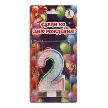 "Свічка цифра для торта веселка ""2"""