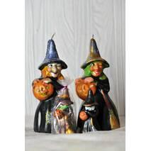 Свічка череп чаклунка з гарбузом на хеллоуин (різні кольори)