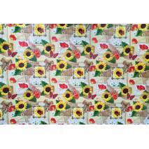 """Подарунковий папір для упаковки  """" Соняшники """", розмір 707х1000 мм"""