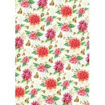 """Подарунковий папір для упаковки  """" Квіти """", розмір 707х1000 мм"""