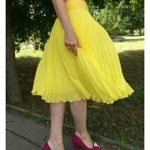 Спідниця плісе гофре шифон Яскраво-жовтий  міді довжини