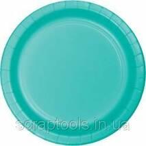 Бумажная тарелка 22,2см - Teal Lagoon