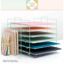 Стелаж органайзер для зберігання скрап паперу 30х30см Crate Paper Desktop Storage Paper Rack