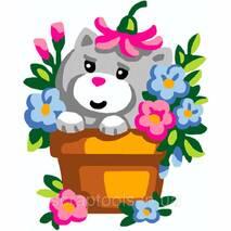 Набор для вышивки Collection D'Art - Kitten In Flowerpot
