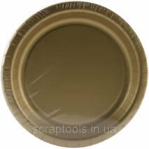 Бумажная тарелка круглая 18см - Glittering Gold
