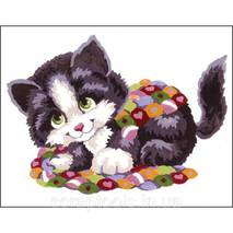 Набор для вышивки Collection D'Art Stamped Needlepoint Kit 20X25cm Patchwork Kitten