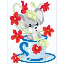 Набор для вышивки Collection D'Art Stamped Needlepoint Kit Mouse In Cup