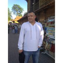 Мужская вышиванка белым по белому. Ручная работа