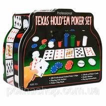 Настільна гра THS - 153 покер, 200 фиш (без ном), 2 кол.карт, сукно, в кор-ке (метал), 26-21-9,5 см