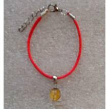 Красная нить оберег натуральный камень Цитрин 10 мм