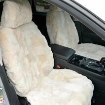 Меховые накидки на сиденья белого цвета 10