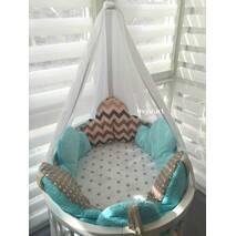 Комплект постільний для круглого ліжечка Хмари 6 ел, бірюзово-кавовий