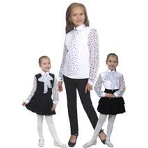 """Блузка детская для девочек сорочечная с шифоном М-1070-1 рост 122-170 тм """"Попелюшка"""""""