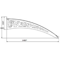 Металлическая сборная крыша Dash'Ok Стиль 2,05м*1м с монолитным поликарбонатом 3мм